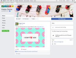 Publicidad para anunciar el AdBlock de Happy Socks